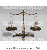 Royalty Free Stock Illustration of Brass Justice Scales Weighing the American Dollar Sign and the Euro Sign, Balanced Evenly by Anastasiya Maksymenko