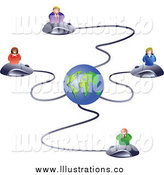 Royalty Free Stock Illustration of Business People on Computer Mice Connected to a Globe by Prawny