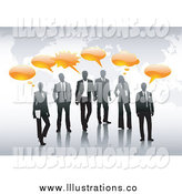 Royalty Free Stock Illustration of Business People over an Atlas with Orange Word Balloons by Anja Kaiser