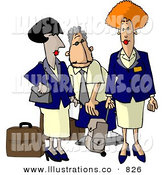 Royalty Free Stock Illustration of Commercial Airline Flight Attendants on White by Djart