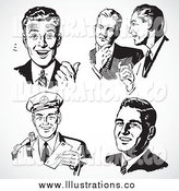 Royalty Free Stock Illustration of Five Black and White Retro Business Men with Different Expressions by BestVector