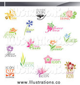 Royalty Free Stock Illustration of Floral Icons by Elena