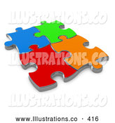November 11th, 2013: Royalty Free Stock Illustration of Four Bright Different Colored Puzzle Pieces Connected over a White Background, Symbolizing Interlinking for Seo Website Marketing, Teamwork and Diversity by 3poD