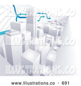 Royalty Free Stock Illustration of Graph Arrows Passing over a 3D Cityscape of High Rise Skyscraper Office Buildings by AtStockIllustration