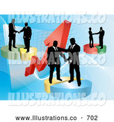 Royalty Free Stock Illustration of Groups of Professional Businessmen Shaking Hands on Deals on Pie Charts, Increasing Revenue for the Company by AtStockIllustration
