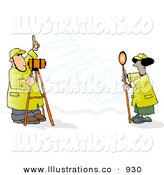 Royalty Free Stock Illustration of Male and Female Surveyors at Work with Leveling Instruments on White by Djart