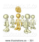 Royalty Free Stock Illustration of One Shiny Bronze Person in a Group of Gold People, Thinking up a Creative Idea, with Gears over His Head by 3poD