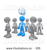 Royalty Free Stock Illustration of One Unique Blue Person in a Group of Gray People, Thinking up a Creative Idea, with Gears over His Head by 3poD