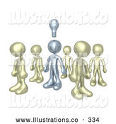 Royalty Free Stock Illustration of One Unique Silver Person in a Group of Gold People, Thinking up a Creative Idea, with a Lightbulb over His Head by 3poD