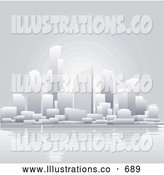Royalty Free Stock Illustration of Pale Skyscraper Office Buildings in a City on the Waterfront, Reflecting in the Water by AtStockIllustration