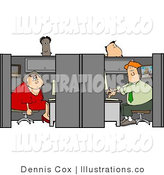 Royalty Free Stock Illustration of People in Customer Service Positions Working in Their Cubicles by Djart