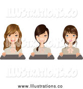 Royalty Free Stock Illustration of Pretty Secretaries with Keyboards by Melisende Vector