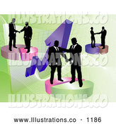 Royalty Free Stock Illustration of Professional Groups of Businessmen Shaking Hands on Deals on Pie Charts, Increasing Revenue for the Company by AtStockIllustration