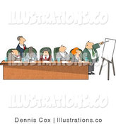 Royalty Free Stock Illustration of Seven Businessmen and Businesswomen During a Business Meeting by Djart