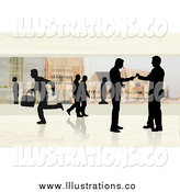 February 11th, 2015: Royalty Free Stock Illustration of Silhouetted People in a Corporate Office by