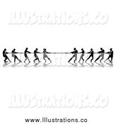 June 25th, 2015: Royalty Free Stock Illustration of Silhouetted Tug of War Business Teams in Action by AtStockIllustration