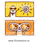 July 13th, 2014: Royalty Free Stock Illustration of Stick Business Men Wearing Summer Sunglasses by NL Shop