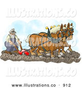 Royalty Free Stock Illustration of Two Belgian Horses Pulling a Farmer on a Plough by Djart