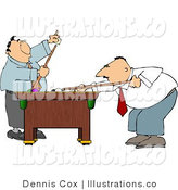 Royalty Free Stock Illustration of Two Businessmen Playing a Game of Pool in Their Business Suits on Friday by Djart
