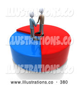 Royalty Free Stock Illustration of Two Businessmen Standing on a Colorful Pie Chart, Shaking Hands and Agreeing on a Deal by 3poD