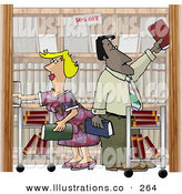 Royalty Free Stock Illustration of Two Busy Employees, Man and Woman, Restocking Shelves at a Bookstore by Djart