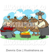Royalty Free Stock Illustration of Two Male Ranchers Heating Branding Irons over a Campfire Beside Their Onlooking Cattle by Djart
