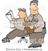 Royalty Free Stock Illustration of Two Male Security Guards Goofing off on the Job by Djart