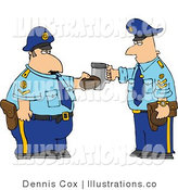 Royalty Free Stock Illustration of Two off Duty Policemen Toasting Donut and Coffee Cup Together by Djart