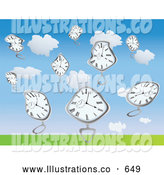 Royalty Free Stock Illustration of Warped Melting Pocket Watches Falling from the Sky by Rasmussen Images