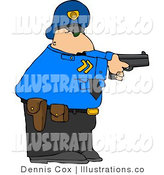 Royalty Free Stock Illustrationof an Alert White Policeman Pointing His Pistol at a Criminal by Djart