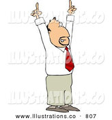 Stock Illustration of a Businessman with a Great Idea Pointing Both of His Pointer Fingers up by Djart