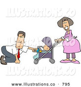 Stock Illustration of a Businessman with a Pregnant Wife and Baby Daughter, on His Knees Feeding the Baby in the Stroller a Bottle by Djart