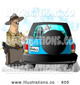 Stock Illustration of a Californian Highway Patrolman Writing a Ticket to a Speeding Motorist on a Blue Vehicle by Djart