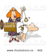 Stock Illustration of a Female Hypnotist Hypnotizing a Man and Making Him Float off the Ground by Djart