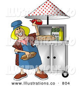 Stock Illustration of a Happy Blonde Lady Working at a Portable Roadside Hot Dog Stand by Djart
