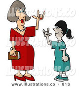 Stock Illustration of a Hearing Impaired Teacher Using Sign Language with a Deaf Student by Dennis Cox