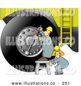 Stock Illustration of a Repairman Putting a New Tire on a Giant Truck by Djart