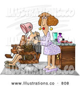 Stock Illustration of a Smiling Hairdresser Working on a Female Client by Djart
