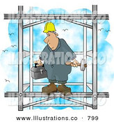 Stock Illustration of a Tired Male Construction Worker Putting Together the Iron Structure of a Building by Djart