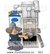 Stock Illustration of a Woman Working Hard Repairing a Broken Furnace Attached to a Water Heater by Djart