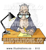Stock Illustration of AGrumpy Old Businessman Interviewing the Viewer for a Job by Djart