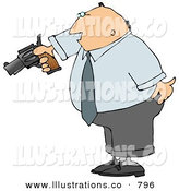 Stock Illustration of an Angry Businessman Pointing a Loaded Gun at Someone Cowering by Djart