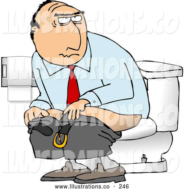 Illustration of a Businessman Going Poop in a Public Toilet or His Office
