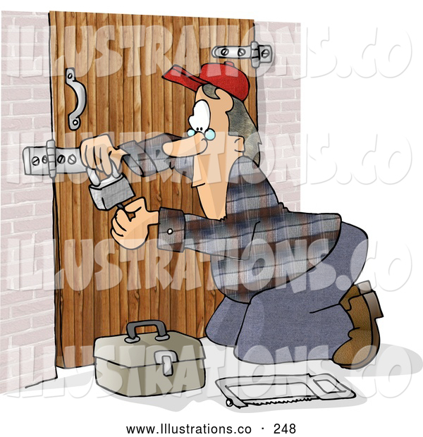 Illustration of a Caucasian Male Locksmith Picking a Padlock