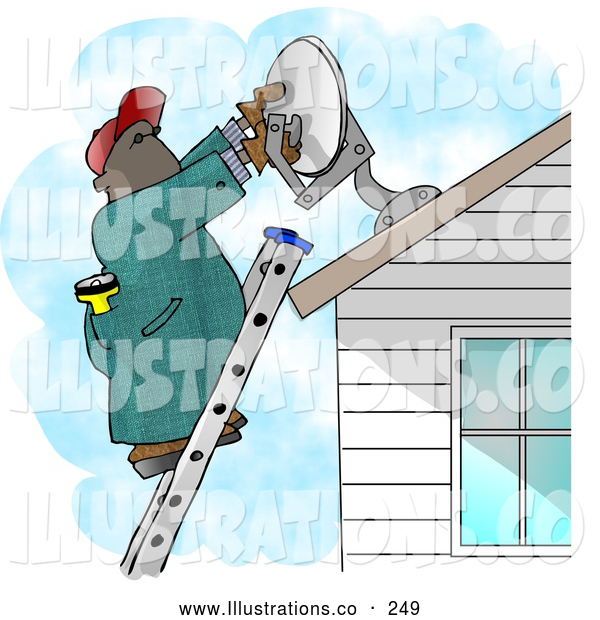 Illustration of an African American Man Installing a Household Satellite Dish on the Roof