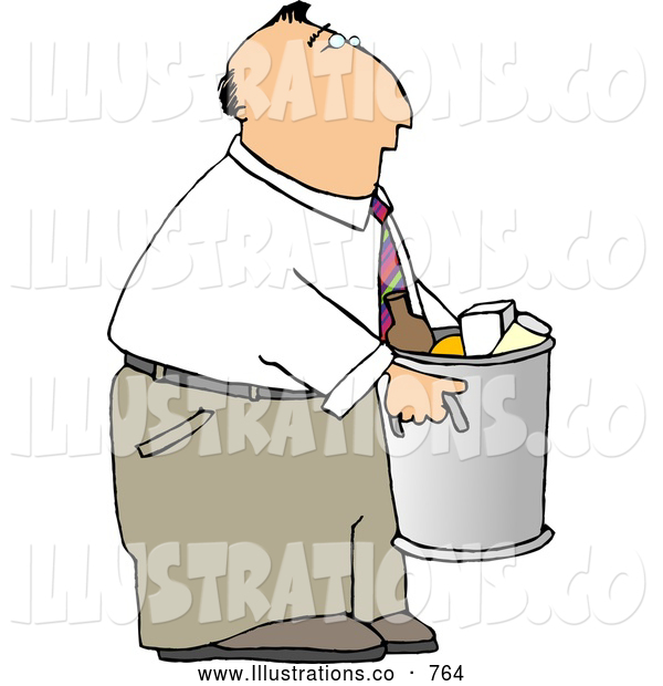 Royalty Free Illustration of a Businessman Taking out Trash and Garbage
