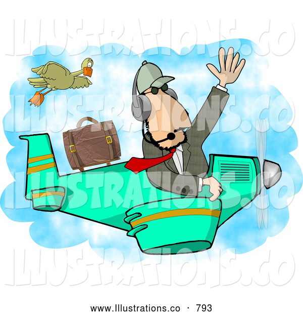 Royalty Free Illustration of a Caucasian Private Pilot/Businessman Flying a Plane