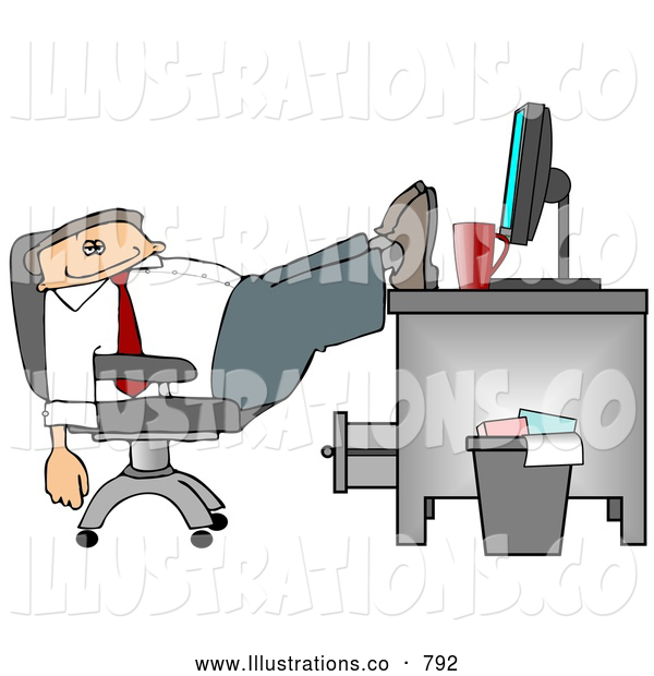 Royalty Free Illustration of a Exhausted Sleeping Businessman Resting Feet on Computer Desk