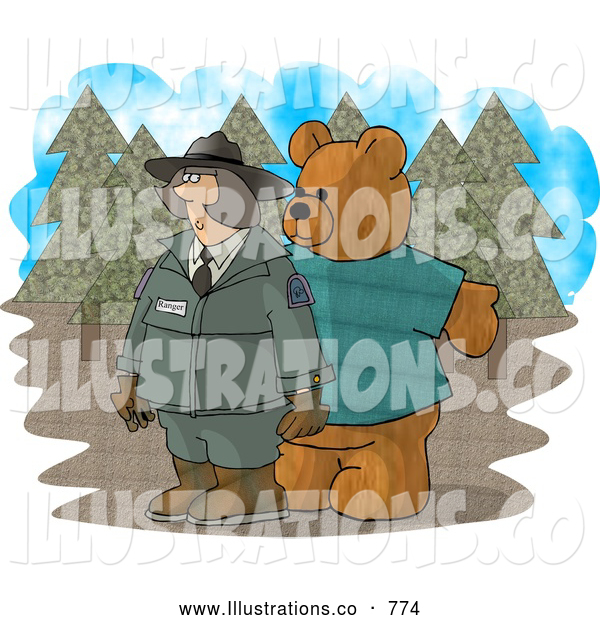 Royalty Free Illustration of a Mean Person Wearing a Bear Costume While Trying to Scare a Female Forest Ranger