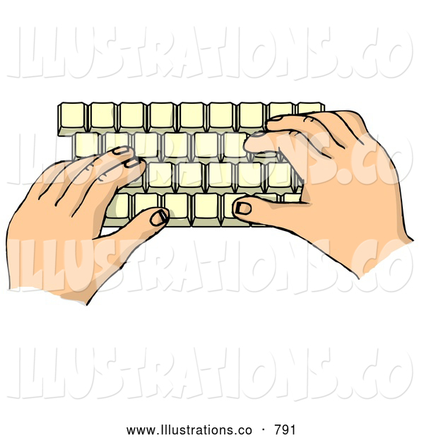Royalty Free Illustration of a Pair of Hands Typing on a Computer Keyboard